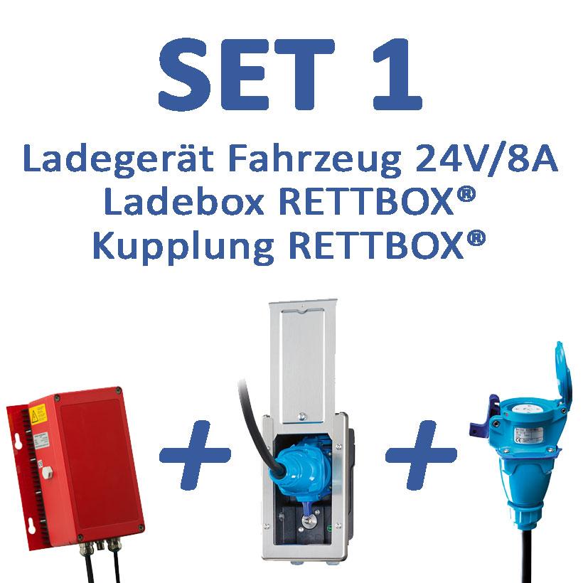 SET 1: 24V-Ladegerät mit RETTBOX® 230V, Fahrzeugmontage