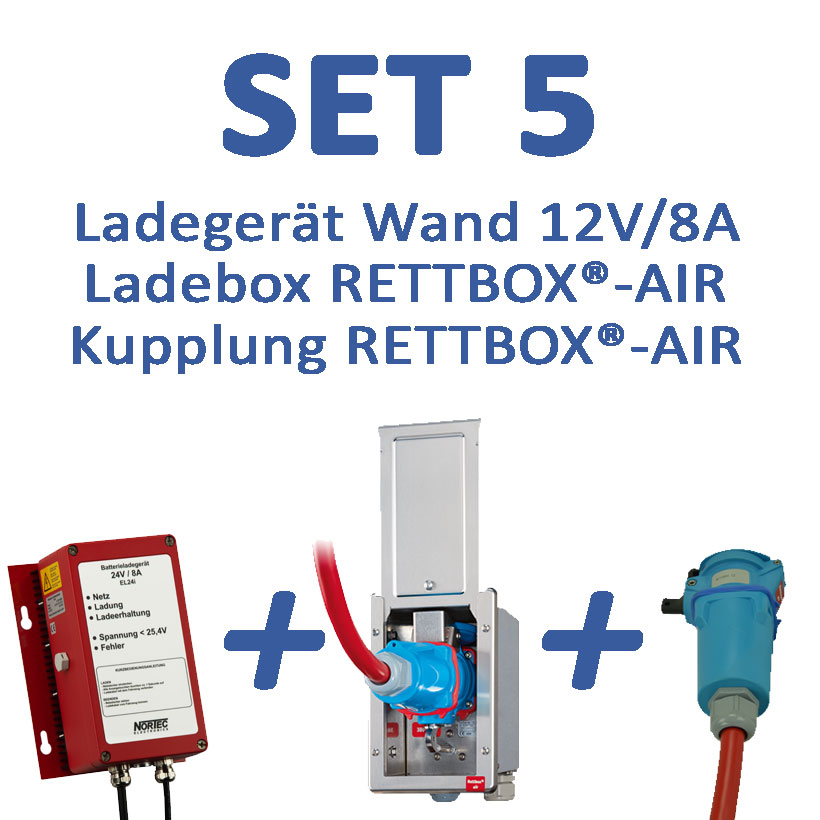 Set 5: 12 V-Ladegerät mit RETTBOX®-AIR 12 V, Wandmontage